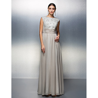 TS Couture Sheath / Column Jewel Neck Floor Length Chiffon Mother of the Bride Dress with Beading Lace Sash / Ribbon Ruching