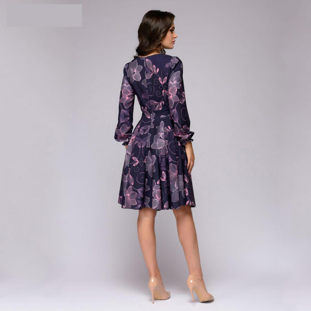 Women printing A-line ruffles long sleeve Knee-Length dress