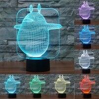 3D Vision Chinchilla 7 Colorful Nightlight LED Acrylic Plate USB Touch Sensor Lamp Desk Lamp Bedroom