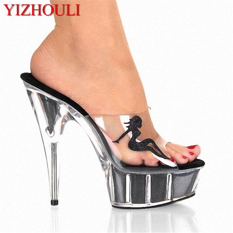 Plataforma Abierta Zapatos Ihch De Altos Sapatos Punta Mujeres Tacones Belleza 15 Las Rushed Señoras Cm Negro Decorativa Zapatillas Femininos tIqFR6