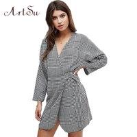 ArtSu Ekose Mini Elbise Vintage Uzun Kollu Dantel Up Robe Femme Seksi V Boyun Kimono Elbiseler Sonbahar Kış Parti Vestidos ASDR30421