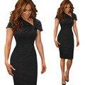 One-piece Elegant Patterns Work dress Office Bodycon Female Short sleeve Sheath Dress Zipper dresses