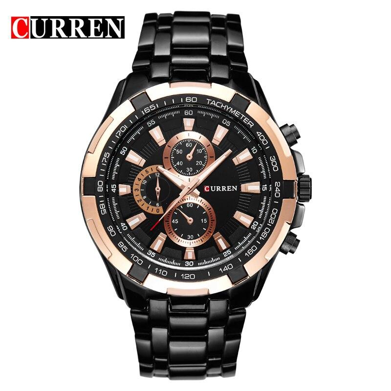 Prix pour Mode Curren marque de luxe homme quartz complet en acier inoxydable montre Casual militaire hommes robe montre - bracelet Gentleman 2016 nouvelle