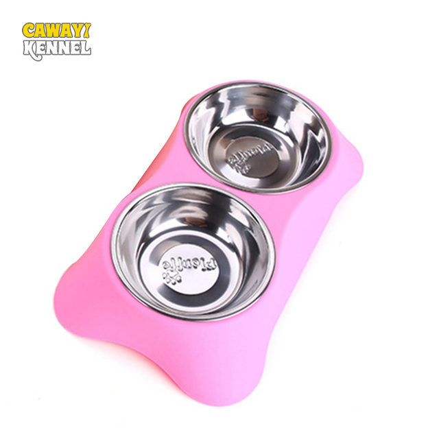 CAWAYI KENNEL Stainless Steel Double Pet Bowls for Dog Puppy Cats Food Water Feeder Pets Supplies Feeding Dishes Dogs Bowl D1202