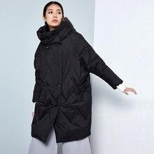LYNETTE'S CHINOISERIE 2016 Autumn Winter Original Design Women Ultra Loose Oversize Hooded White Duck Down Coat Jacket Outerwear