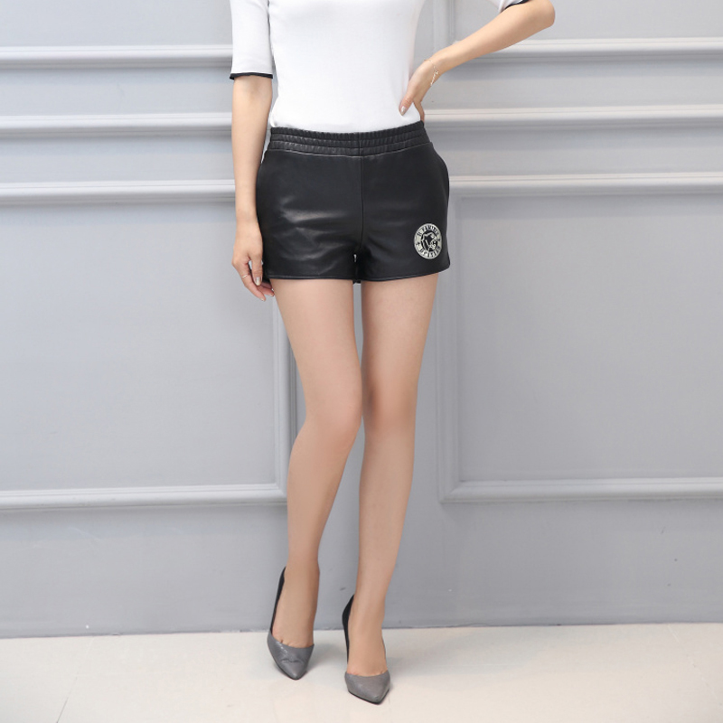 Svadilfari femmes en cuir véritable Shorts femme régulière solide élastique taille basse mode printemps été 2018 femme court grande taille