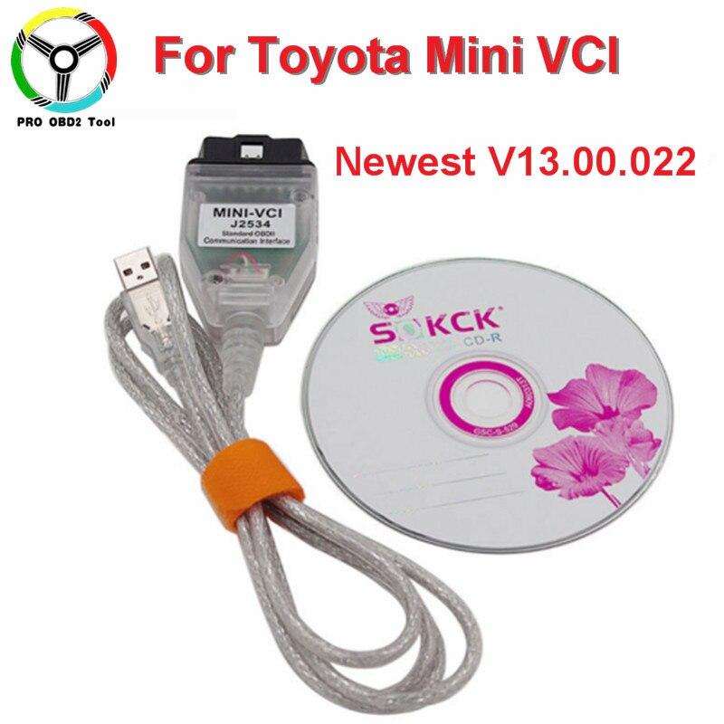 2018 I Più Nuovi V13.00.022 MINI VCI Interfaccia Per Toyota/Lexus TIS Techstream MINI-VCI J2534 OBD2 Cavo Diagnostico shiping libero