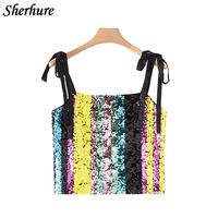 2018 Summer Women Crop Tops Fashion Sequins Cropped Tanks Tops Sexy Women Backless Vest Camis Female
