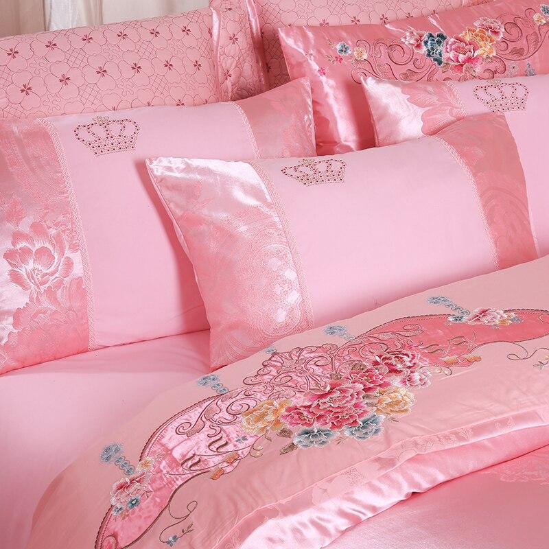 SlowDream Red Wedding bedding Set Luxury Silk Bed Linen Cotton Set Double Queen King Duvet Cover Set Bedspread Bed Sheet Set in Bedding Sets from Home Garden