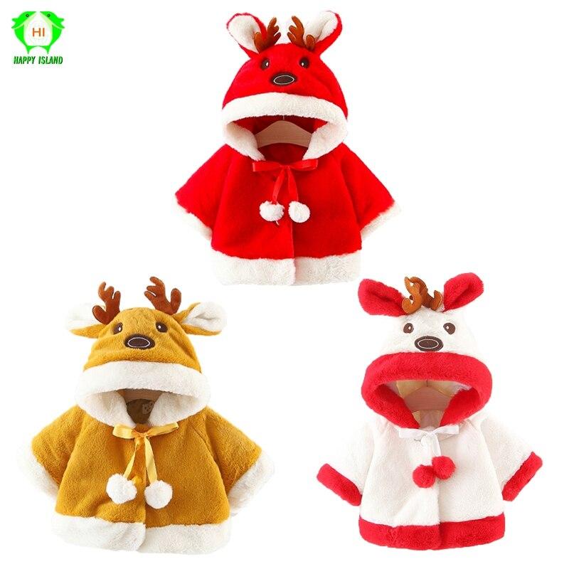 Children Kids Baby Christmas Santa Claus Cosplay Costumes Winter Elk Cloak Fancy Dress With Hat Christmas Girls Coat Suit