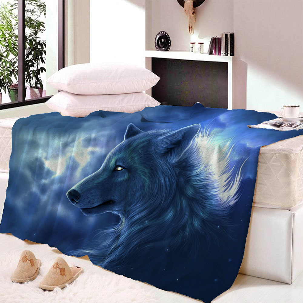 Custom Wolf Print Throw Blanket Hipster Watercolor Sherpa for Couch Dreamcatcher Feathers Printed Soft