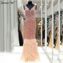 Dubai luxo penas sereia sexy vestidos de noite com decote em v sem mangas brilho vestidos de noite sereno hill la60749
