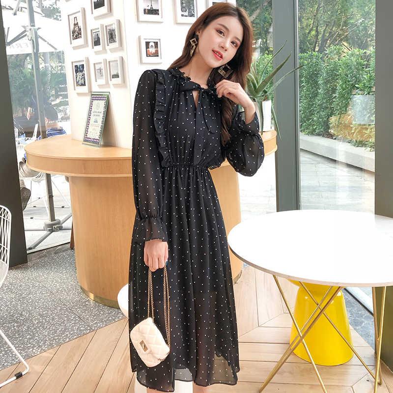 Летнее женское шифоновое платье черное винтажное платье миди в горошек с длинными рукавами 2019 богемное повседневное свободное Клубное вечернее платье vestidos