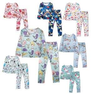 Kids 2 Pieces Unicorn Dinosaur Mermaid Butterfly Princess Pajamas Sleepwear Set