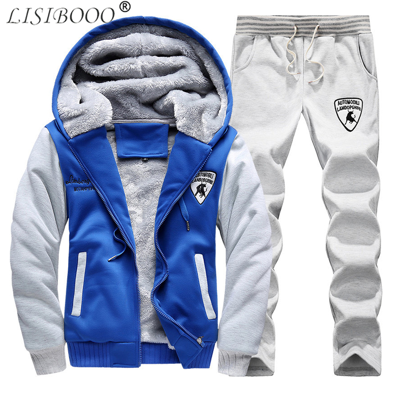 LISIBOOO Fashion Men Tracksuit Sets 2018 Winter Warm Fleece Hoodies Pants Sweatsuit Men Sportswear Suits Casual Men Track Suit