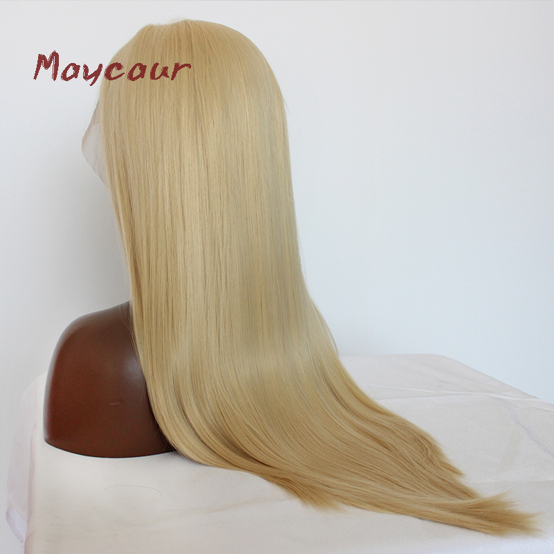 Image 4 - Maycaur Blonde Hair Lace Front Wigs Long Straight Color 613# Synthetic Lace Wigs-in Synthetic Lace Wigs from Hair Extensions & Wigs