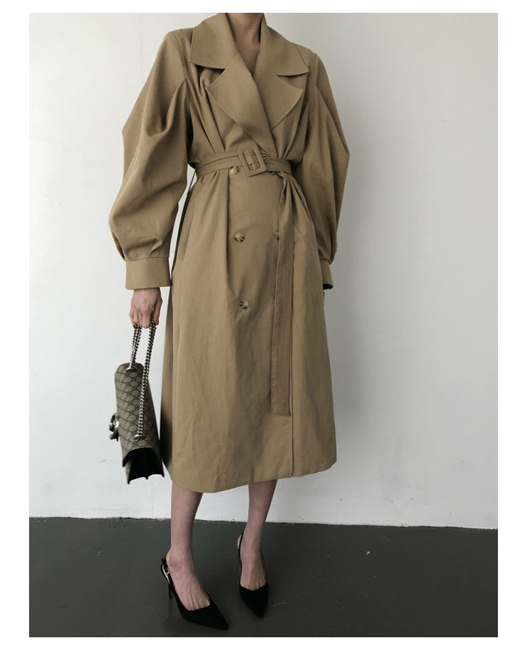Autumn 19 Woman khaki Long Trench Coat British Style Vintage Puff Sleeve Long Dust Coat Elegant Waist Bandage Windbreaker 5