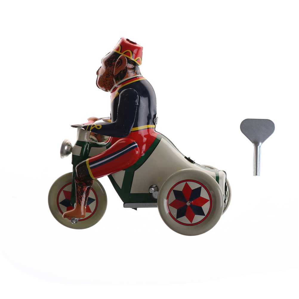 1pc Monkey Riding A Car Tin Toys Vintage Wind Up Circus Monkey Riding A Car Clockwork Tin Toy Fun Collectible Retro Home Decor