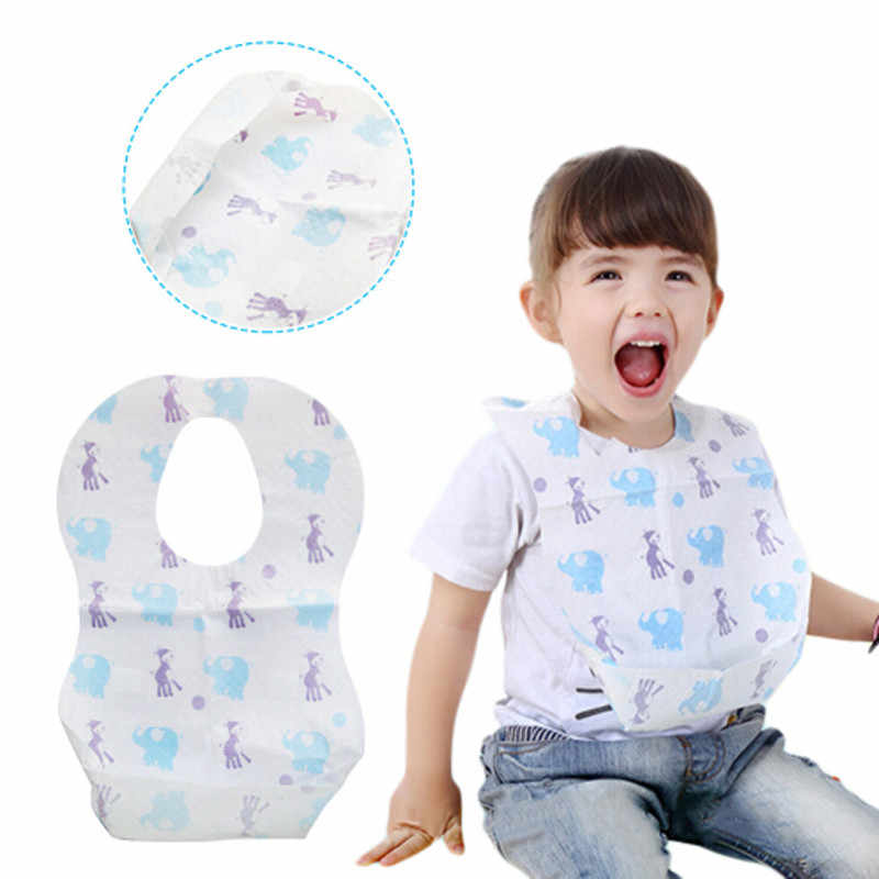 10Pcs Waterproof Non-Woven Fabric Disposable Bibs Eating Saliva Paper Bibs For Babies