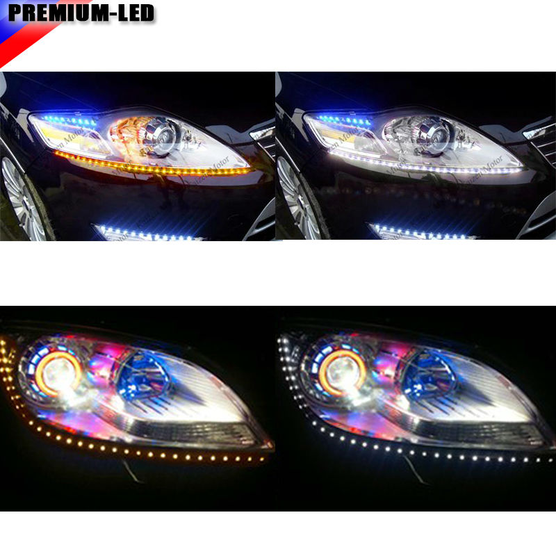 "24/"" Side Glow White//Amber Switchback LED Strip Lights For Headlight DRL /& Signal"