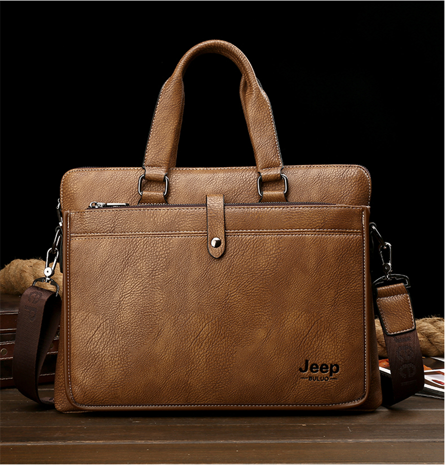 a leather briefcase in brown made with genuine leather
