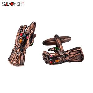 Image 5 - SAVOYSHI Novelty gloves Shaped Cufflinks for Mens Suit Shirt Cuff High quality Red Copper Cuff links Brand Male Jewelry Gift