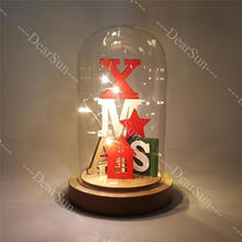 Creative Wooden House  with LED Light for Christmas Gifts Decorations Glass Bottle Decoration