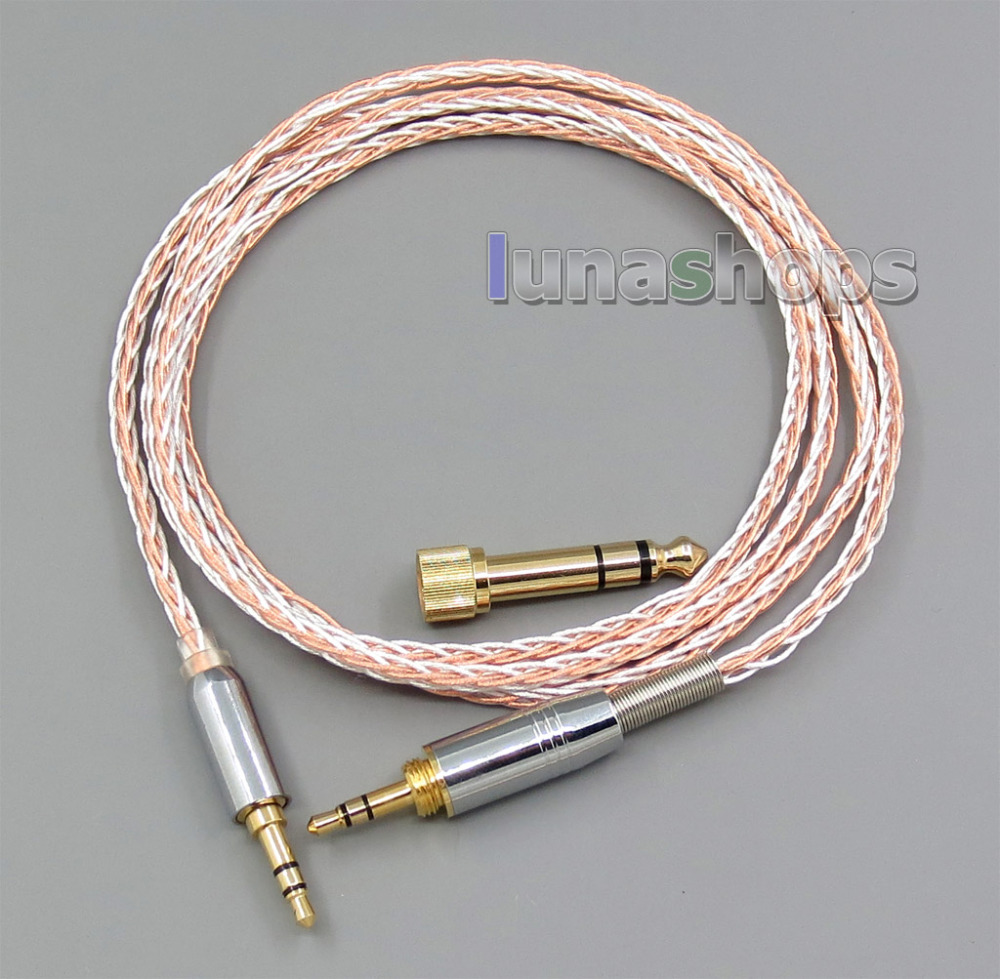 3.5mm 6.5mm Male To Male 800 Wires Soft Silver + OCC Alloy Tefl AFT Earphone Headphone Cable 800 wires soft silver occ alloy teflo aft earphone cable for sennheiser hd700 headphone ln005404