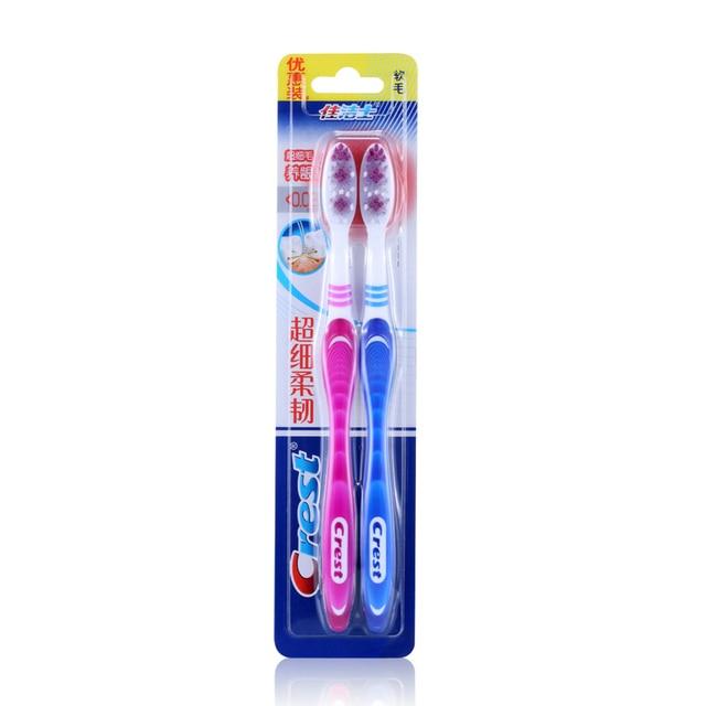 Crest cerdas suaves Nanometer cepillo de dientes Antibacterial limpieza profunda cuidado de las encías pareja cepillo de dientes paquete doble