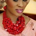 4ujewelry Choker Jewelry Set Genuine Coral Beads Necklace Jewelry 3 Layers Women Big Edo Bridal Jewellery Set Free Shipping New