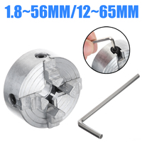 Z011A Mini Collet Metal 4 Jaw Lathe Chuck Clamps 1.8~56mm/12~65mm M12 Thread Accessory for Mini Metal Lathe Drill Chuck