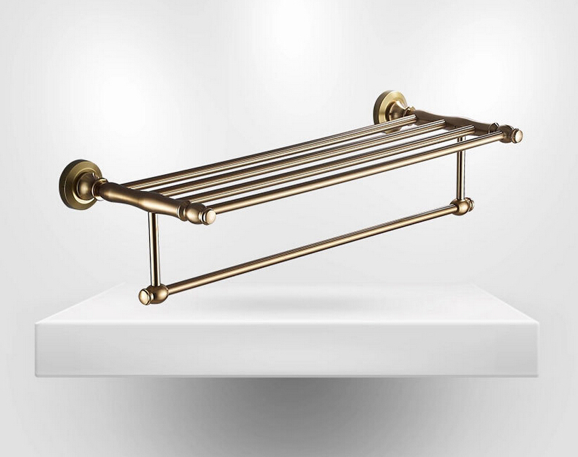 Antique bronze Aluminum Bathroom Towel Rack Holder Hotel Home Bathroom Storage Rack Rail Shelf porta toalha 2016 high quality brass and crystal bathroom towel rack gold towel holder hotel home bathroom storage rack rail shelf