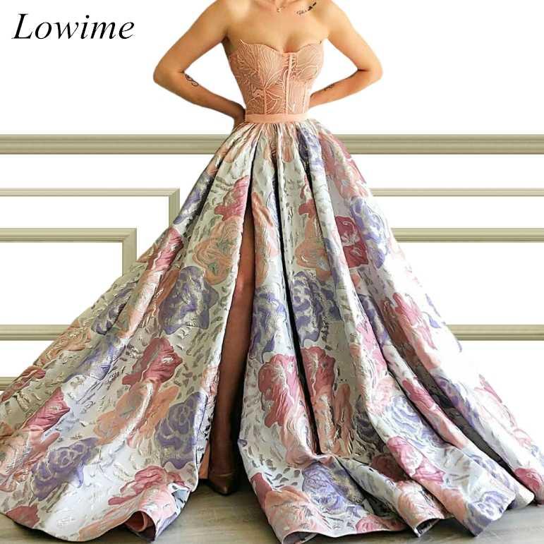 מיוחד פרח דפוס ארוך סלבריטאים שמלות סטרפלס צד גבוה פיצול אלגנטי ערב אדום שטיח בורח שמלות Robe De Soiree