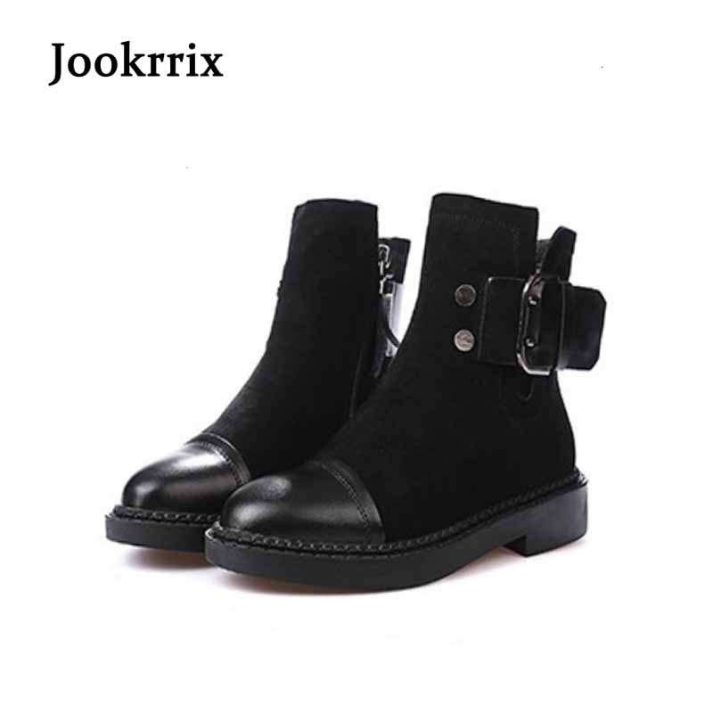 Jookrrix Autumn Winter Fashion Boots Shoes Women Lady Genuine Leather Black Ankle Boot Brand Warm Martin Boot Winter Belt Buckle [krusdan]british style men autumn winter boots solid casual genuine leather retro boots falts brand red wine male ankle boot
