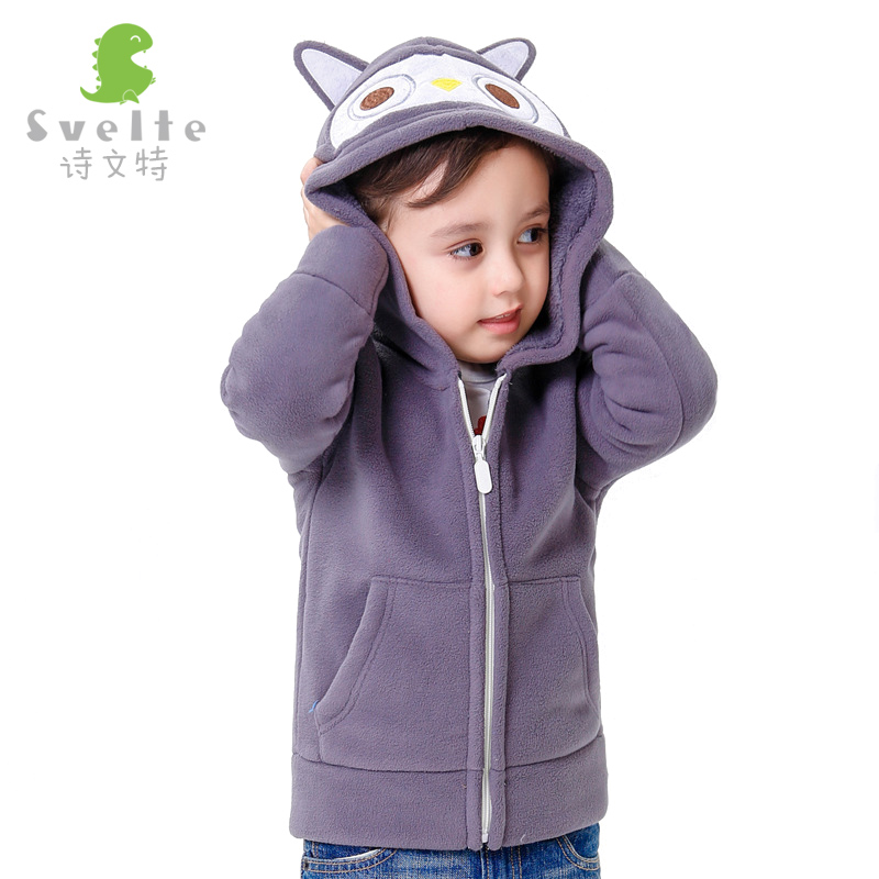 2 8 Years Old Baby Boys Winter Jacket 2016 New Fashion Cartoon Thick Fleece Hooded Boys
