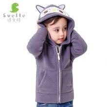 2-8 Ans Bébé Garçons Hiver Veste 2016 Nouveau Mode de Bande Dessinée Épais Polaire À Capuchon Garçons Survêtement Manteau Chaud