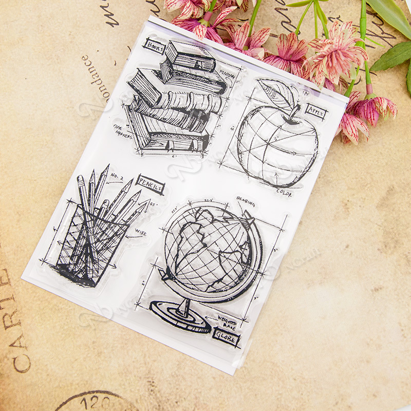 Pencils Books Transparent Clear Silicone Stamp/Seal for DIY scrapbooking/photo album Decorative clear stamp sheets A489 lovely animals and ballon design transparent clear silicone stamp for diy scrapbooking photo album clear stamp cl 278