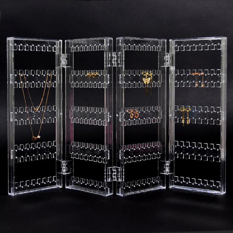 New 256 Holes Foldable 4 Panel Clear Makeup Jewelry Organizer Holder Earring Stud Necklace Bracelet Storage Stand DisplayNew 256 Holes Foldable 4 Panel Clear Makeup Jewelry Organizer Holder Earring Stud Necklace Bracelet Storage Stand Display