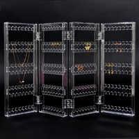 Novo 256 buracos dobrável 4 painel claro maquiagem jóias organizador titular brinco parafuso prisioneiro colar pulseira de armazenamento display