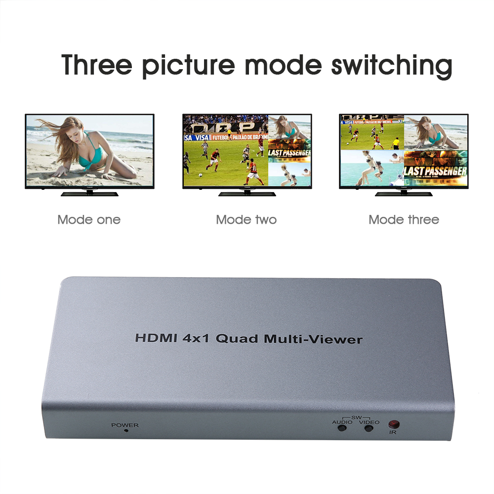 4 Port 4X1 HDMI Multi-viewer Quad Screen Real Time Multiviewer Converter Seamless Switcher Function 1080P 3D + Remote Control full 1080p hdmi 4x1 multi viewer with hdmi switcher perfect quad screen real time drop shipping 1108