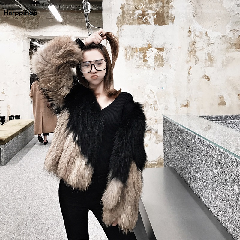 2017 Knitted Handmade Natural True Raccoon Fur Coat Factory Direct Sale Low Discount High Quality Plus Big Size