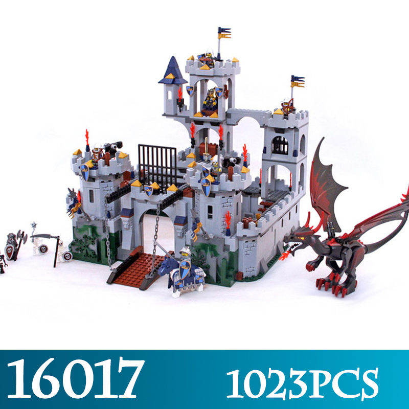 16017 1023pcs Kingdoms Knights King's Castle Siege Assembly Model Building Blocks Compatible 7094 LegoINGS Figure Bricks Toys movie series king castle battle siege set model building block bricks toys compatible legoings city castle 7094