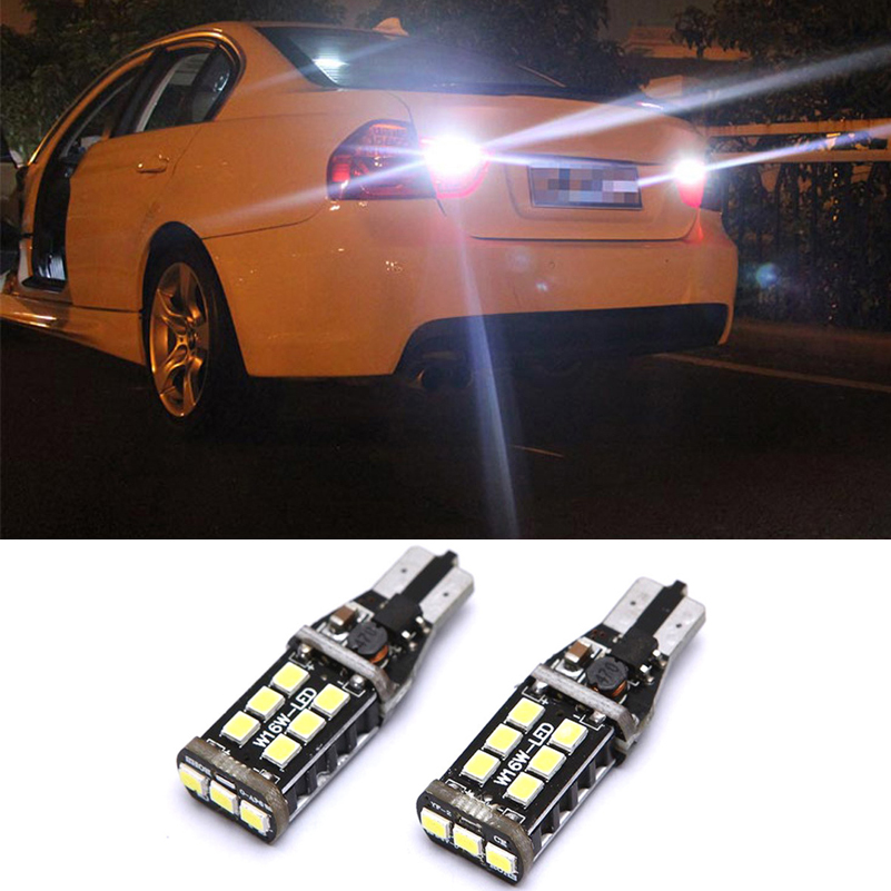 2x T15 W16W LED CANBUS 2835 Chip 15LED High Power Backup Baklykt Ingen feil Baklyktpære for BMW E39 E60 E90