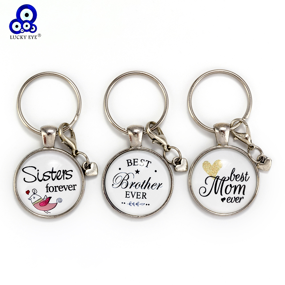 Lucky Eye Glass Letters Heart Keychain Mom Sister Brother Pendant Keychain For Women Girl Boy Car Keychain Jewelry EY6141