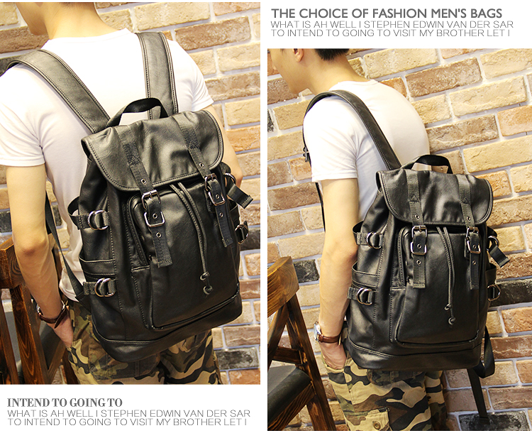 051018 new hot man fashion leather travel backpack student school bag 13