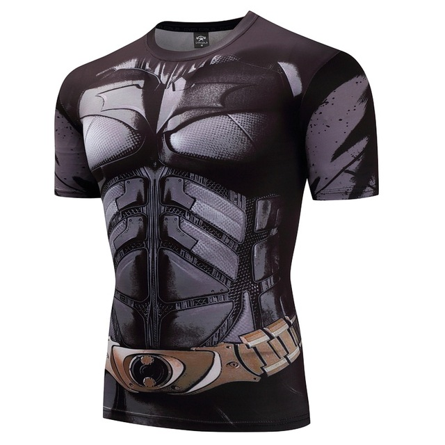 Batman T shirts Men Funny Anime Shirt Summer 2017 New Fashion Casual Short Sleeve Tops Cotton Lycra Fitness Clothing For Male 1