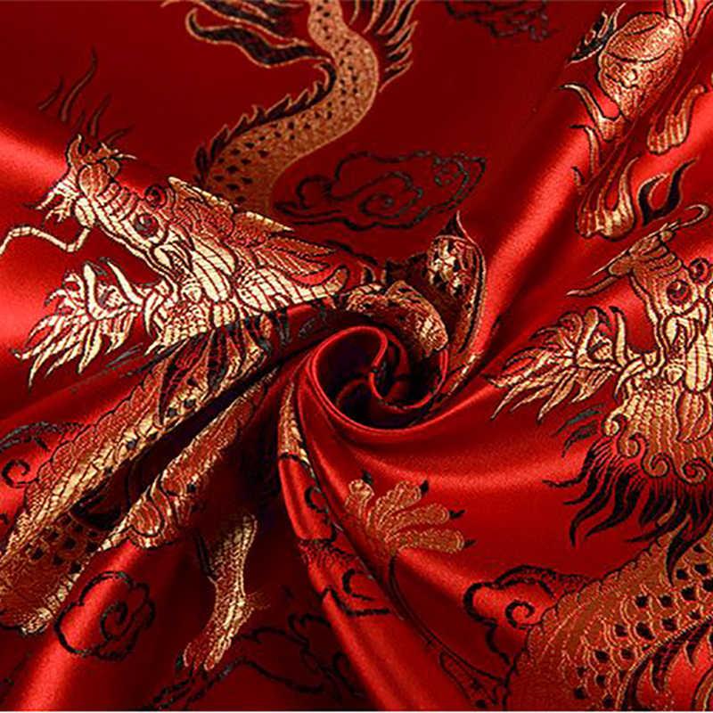 HLQON Merah Import Naga Gaya Brokat Fashion Kain Yang Digunakan untuk Quilting Wanita Pakaian Rok Satin dengan 100x115cm