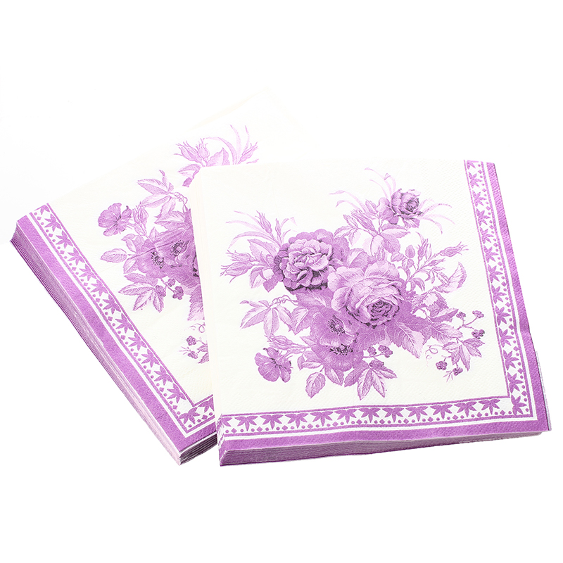 2x Paper Napkin Square Printed Serviettes Party Wedding Tableware Decor Purple  For Weddings Banquets Birthday Parties