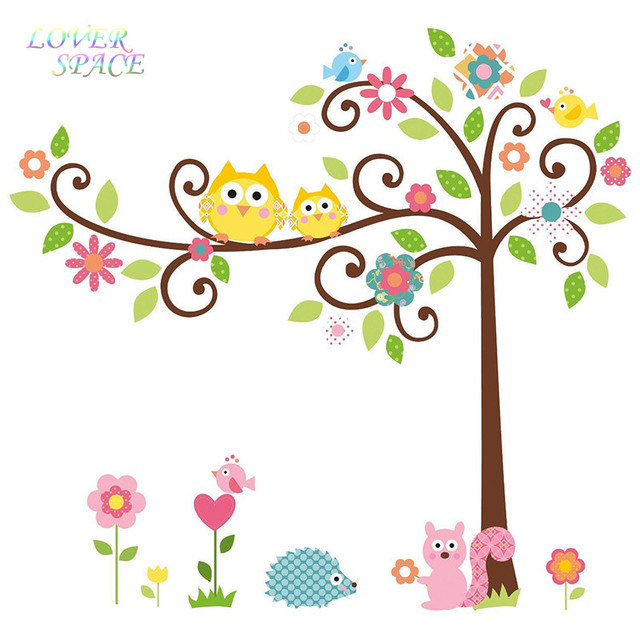 Delightful Scroll Hedgehog Squirrel Bird Owl Tree Wall Decal Art Vinyl Nursery Sticker  Removable Home Decor Wall