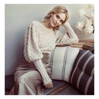 Для женщин Кот Шерсть и мохер шифон Chevron Knit Дизайн Длинные свободные рукава короткие неукротимая безделушка свитер